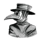 Plague doctor hand drawing vintage engraving isolate on white ba. Ckground vector illustration