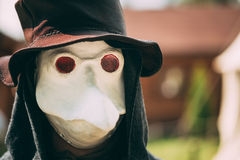 Plague doctor - participant of festival of medieval culture Royalty Free Stock Photos