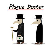 Plague doctor side view in flat, vector Royalty Free Stock Photos