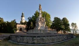 Plague el pilar fuera del castillo del hrad de Nitransky en Eslovaquia Foto de archivo libre de regalías