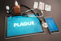 Plague (infectious disease) diagnosis medical concept on tablet. Screen with stethoscope Stock Photos
