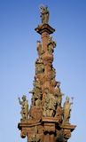 Plague pillar. Contemporary plague pillar with many religious statues royalty free stock photos