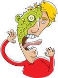 Plague Victim. A cartoon man is victim to a bubbly, green plague rash Royalty Free Stock Photo