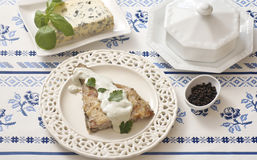 Plaice with blue cheese sauce Royalty Free Stock Images