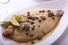Plaice with Capers Stock Photo