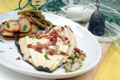 Plaice with potato and organic beans Royalty Free Stock Photos