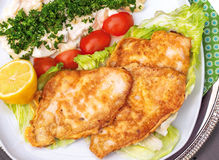 Plaice with potato salad Stock Photos