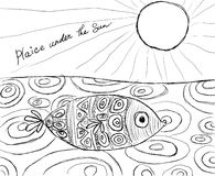 Plaice under the Sun. Black and white cartoon showing a fish and based on word play Stock Images