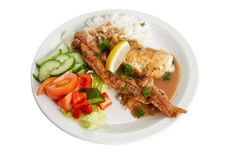 Plaice With Rice And Salad Stock Image