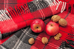 Plaid, apples and nuts Stock Photo