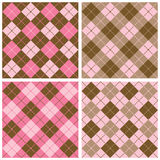 Plaid-Argyle Pattern in Pink and Brown Stock Image