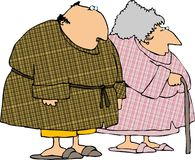Plaid bathrobes. This illustration depicts an old couple wearing plaid bathrobes Royalty Free Stock Photos