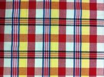 Plaid-Baumwollgewebe des bunten Hintergrundes und der abstrakten Beschaffenheit Stockbilder