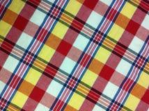 Plaid-Baumwollgewebe des bunten Hintergrundes und der abstrakten Beschaffenheit Lizenzfreies Stockbild