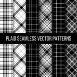 Plaid in bianco e nero, controllo del bufalo, percalle illustrazione di stock