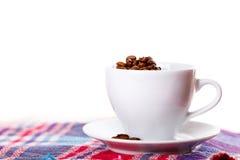 Plaid blanc de café de thé de tasse Photographie stock libre de droits