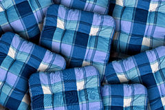 Plaid Blue Cushions Royalty Free Stock Images