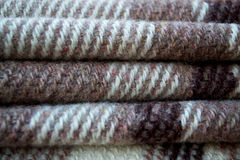 Plaid. Brown and beige wool plaid Stock Photography