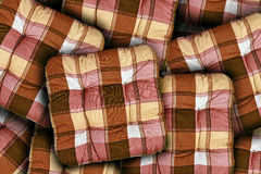 Plaid Brown Cushions Stock Image