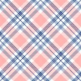 Plaid check pattern in navy blue, pink and white.  Seamless fabric texture. Textile geometric pattern in navy blue, pink and white. Vector print Stock Images