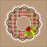Plaid Christmas wreath white frill Stock Images