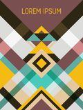 Plaid cover page layout vector template. Geometric design with triangles and stripes pattern. Folklore mexican motifs. Striped bauhaus pattern vector cover royalty free illustration