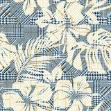 Plaid del dente di segugi con i fiori astratti dell'ibisco Immagini Stock