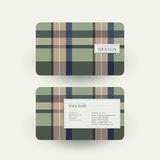 Plaid design business card template in green Royalty Free Stock Photography