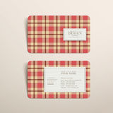 Plaid design business card template in red Stock Photography