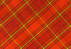 Plaid Fabric. Orange and Red Plaid Fabric royalty free stock photography