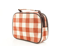 Plaid fabric bag on white background Stock Images
