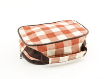 Plaid fabric bag on white background Royalty Free Stock Photos