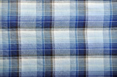 Plaid fabric. Blue and white plaid fabric for backgrounds Stock Photo