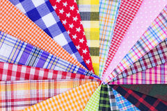Plaid fabric. Different color of many checkered plaid fabric background Royalty Free Stock Photo