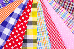 Plaid fabric. Different color of many checkered plaid fabric background Royalty Free Stock Images