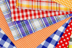 Plaid fabric. Different color of many checkered plaid fabric background Royalty Free Stock Image