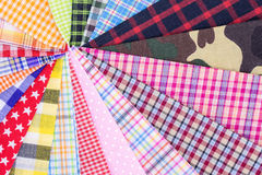 Plaid fabric. Different color of many checkered plaid fabric background Stock Photo