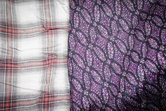 Plaid fabric and thai silk Royalty Free Stock Photo