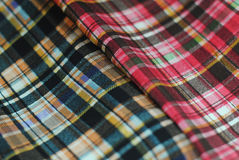 Plaid fafric in two colors. Two plaid fabric orange and pink Stock Photo