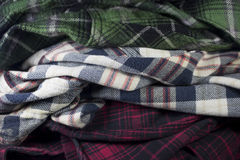 plaid flannel fabric cloth Stock Images