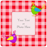 Plaid frame with birdies Stock Photography