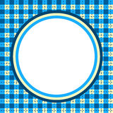 Plaid Gingham circular border frame. Circle frame and background with blue plaid gingham pattern Royalty Free Stock Photography