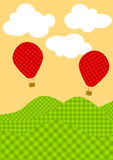 Plaid Hot Air Balloons Greeting Card. Invitation card with hot air balloons flying over plaid patterned hills. Space to put text inside the clouds Stock Images
