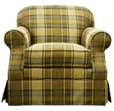 Plaid Living Room Chair Stock Photo
