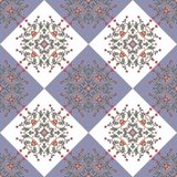 Plaid material. Seamless patchwork pattern with hearts, cute cartoon birds and leaves. Stock Photography