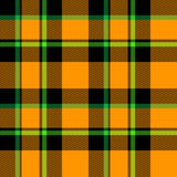 Plaid noir vert orange Images libres de droits