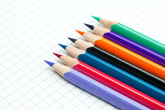 Plaid notebook and colored  pencil Royalty Free Stock Photo