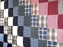 Plaid patchwork quilt. Background with square pieces Stock Photo