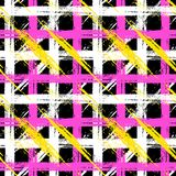 Plaid pattern with brushstrokes and stripes. Vector seamless plaid pattern with bold brushstrokes and stripes in bright multiple colors can be used for print Royalty Free Stock Image