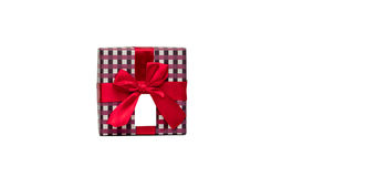 Plaid pattern gift box with red ribbon bow and blank greeting card isolated on white background, just add your own. Plaid pattern gift box with red ribbon bow Royalty Free Stock Photos